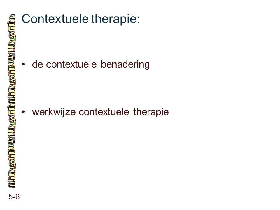 Vier dimensies bij contextuele therapie: 5-7 feiten psychologie van het individu interacties binnen de relatie ethiek binnen de relatie