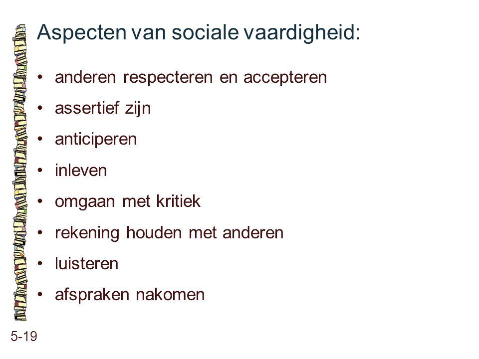 Aspecten van sociale vaardigheid: 5-19 anderen respecteren en accepteren assertief zijn anticiperen inleven omgaan met kritiek rekening houden met and