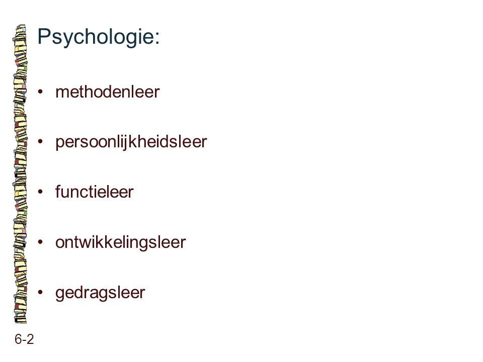 Psychologie: 6-2 methodenleer persoonlijkheidsleer functieleer ontwikkelingsleer gedragsleer