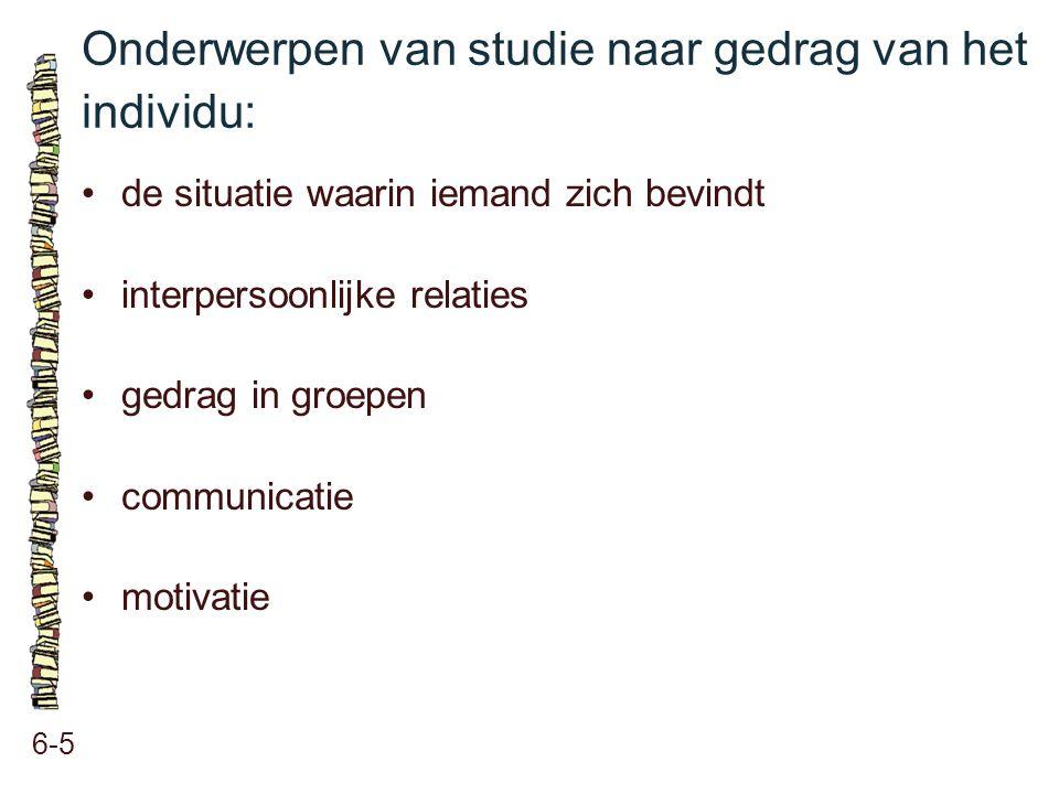 Onderwerpen van studie naar gedrag van het individu: 6-5 de situatie waarin iemand zich bevindt interpersoonlijke relaties gedrag in groepen communica