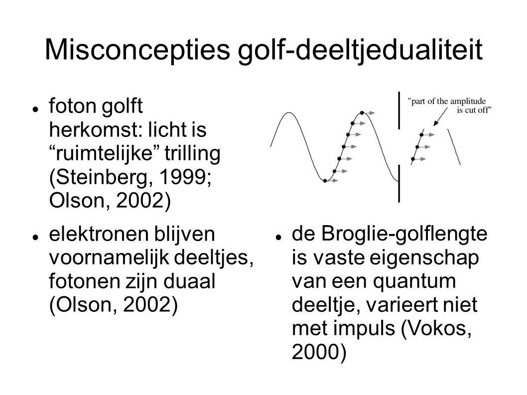 """Misconcepties golf-deeltjedualiteit foton golft herkomst: licht is """"ruimtelijke"""" trilling (Steinberg, 1999; Olson, 2002) elektronen blijven voornameli"""