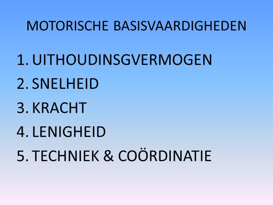 MOTORISCHE BASISVAARDIGHEDEN 1.UITHOUDINSGVERMOGEN 2.SNELHEID 3.KRACHT 4.LENIGHEID 5.TECHNIEK & COÖRDINATIE