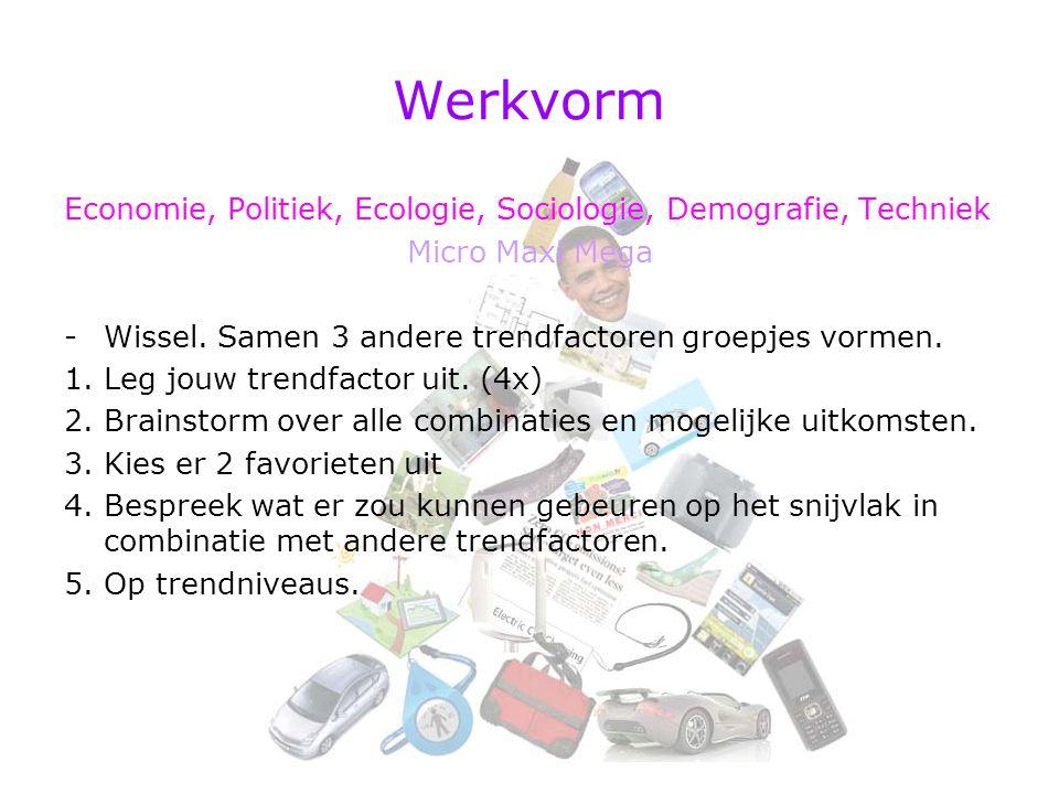 Werkvorm Economie, Politiek, Ecologie, Sociologie, Demografie, Techniek Micro Maxi Mega -Wissel. Samen 3 andere trendfactoren groepjes vormen. 1.Leg j