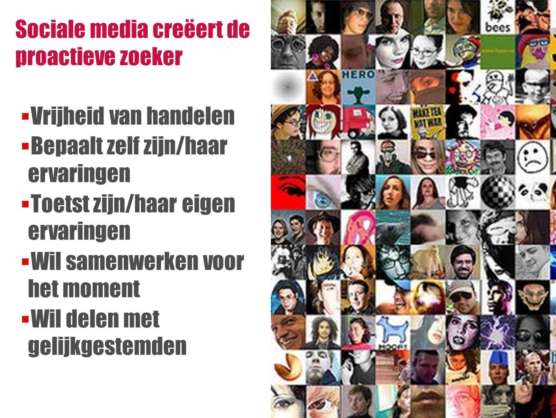 17 Sociale media creëert de proactieve zoeker  Vrijheid van handelen  Bepaalt zelf zijn/haar ervaringen  Toetst zijn/haar eigen ervaringen  Wil samenwerken voor het moment  Wil delen met gelijkgestemden