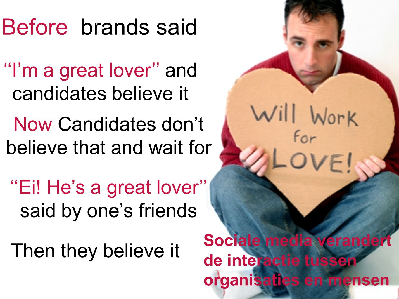 24 Sociale media verandert de interactie tussen organisaties en mensen Before brands said ''I'm a great lover'' and candidates believe it Now Candidat