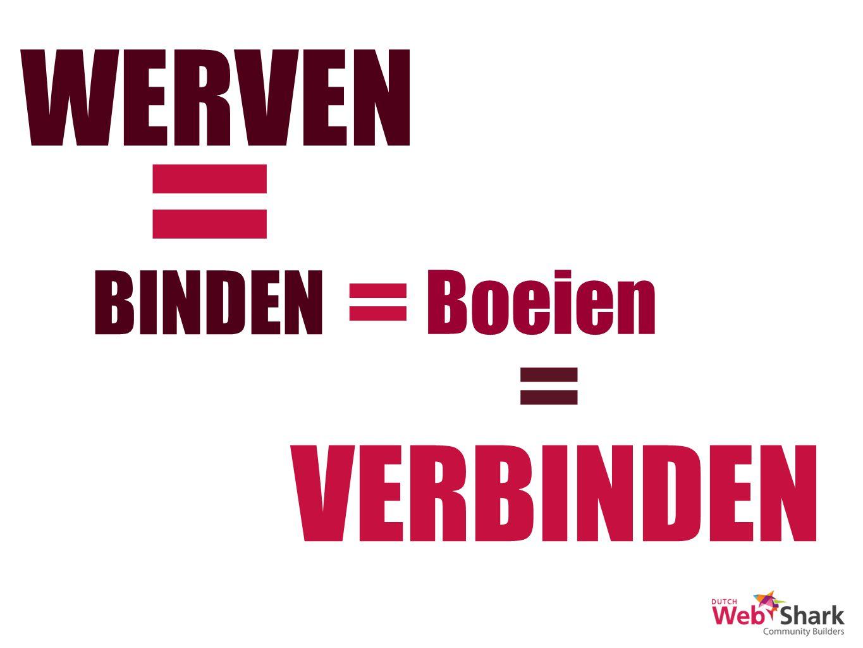 WERVEN = BINDEN = Boeien = VERBINDEN
