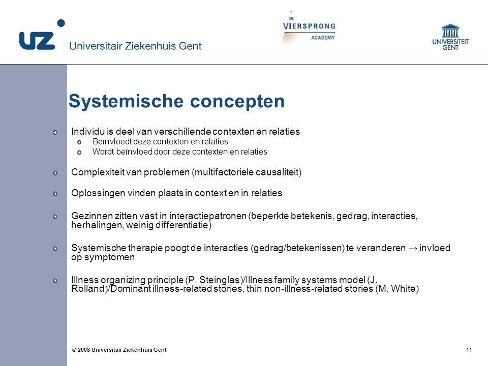 11 © 2008 Universitair Ziekenhuis Gent Systemische concepten Individu is deel van verschillende contexten en relaties Beïnvloedt deze contexten en rel
