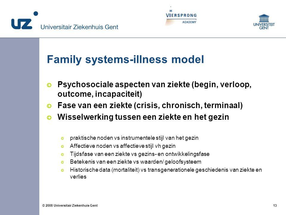 13 © 2008 Universitair Ziekenhuis Gent Family systems-illness model Psychosociale aspecten van ziekte (begin, verloop, outcome, incapaciteit) Fase van