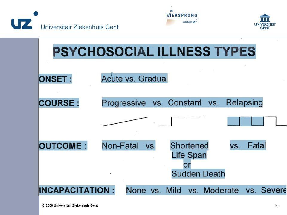 14 © 2008 Universitair Ziekenhuis Gent Family systems-illness model Psychosociale aspecten van ziekte (begin, verloop, outcome, incapaciteit) Fase van