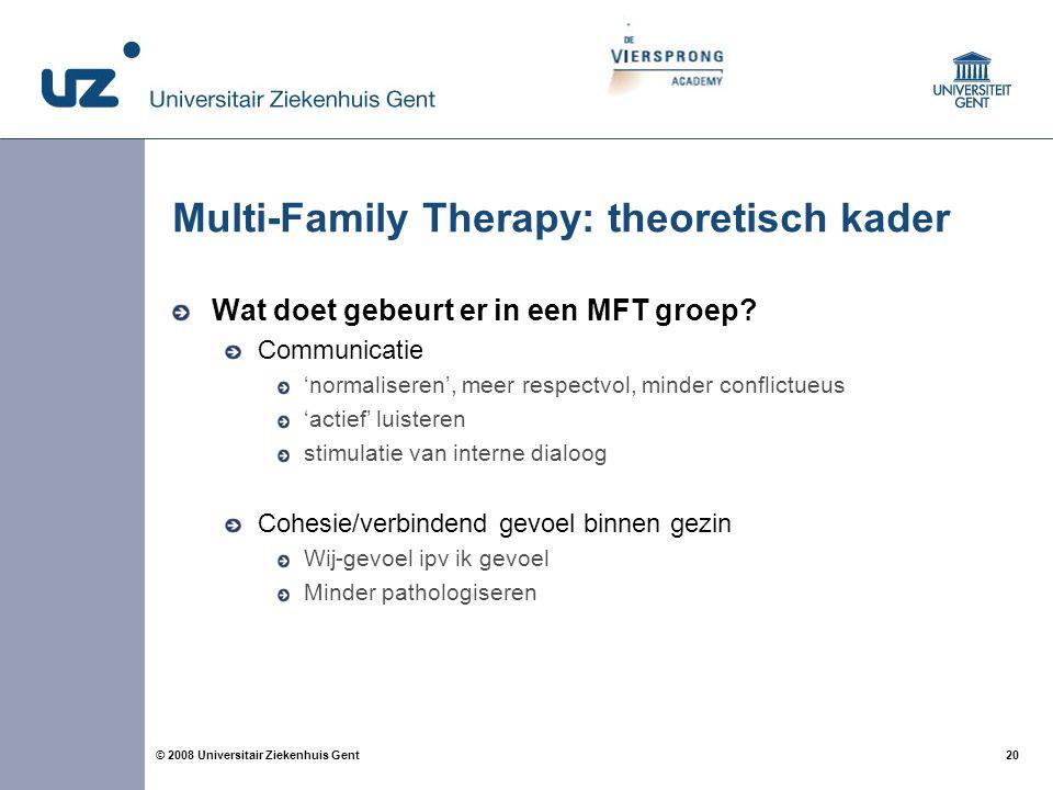20 © 2008 Universitair Ziekenhuis Gent Multi-Family Therapy: theoretisch kader Wat doet gebeurt er in een MFT groep? Communicatie 'normaliseren', meer