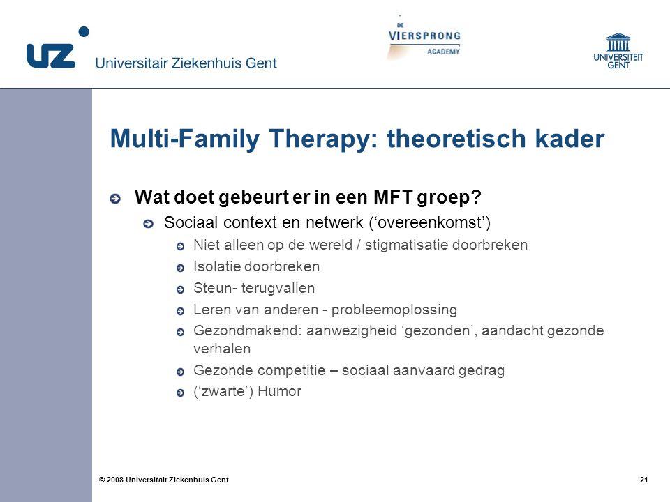 21 © 2008 Universitair Ziekenhuis Gent Multi-Family Therapy: theoretisch kader Wat doet gebeurt er in een MFT groep? Sociaal context en netwerk ('over