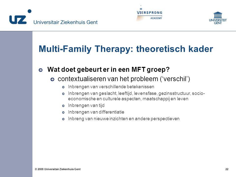 22 © 2008 Universitair Ziekenhuis Gent Multi-Family Therapy: theoretisch kader Wat doet gebeurt er in een MFT groep? contextualiseren van het probleem