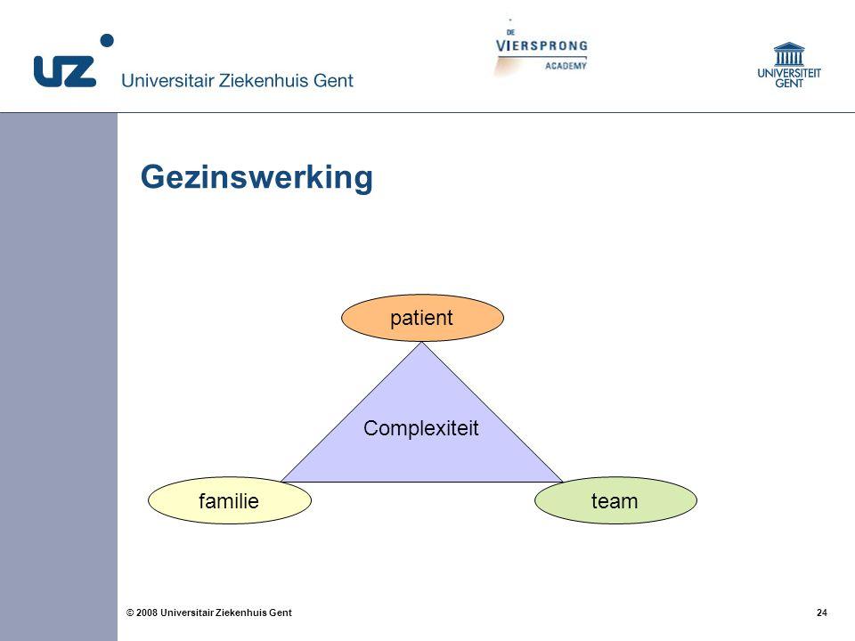 24 © 2008 Universitair Ziekenhuis Gent Gezinswerking Complexiteit familie patient team