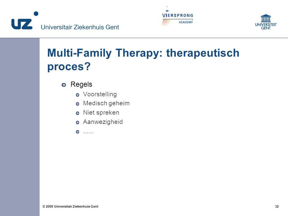 32 © 2008 Universitair Ziekenhuis Gent Multi-Family Therapy: therapeutisch proces? Regels Voorstelling Medisch geheim Niet spreken Aanwezigheid......