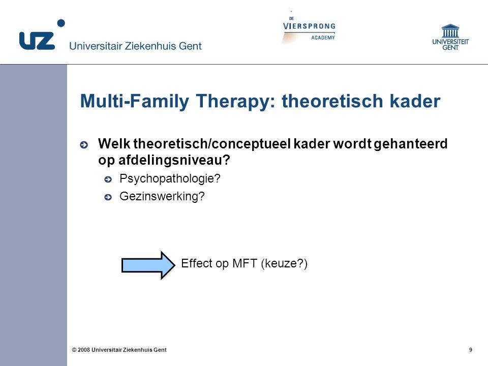 9 9© 2008 Universitair Ziekenhuis Gent Multi-Family Therapy: theoretisch kader Welk theoretisch/conceptueel kader wordt gehanteerd op afdelingsniveau?
