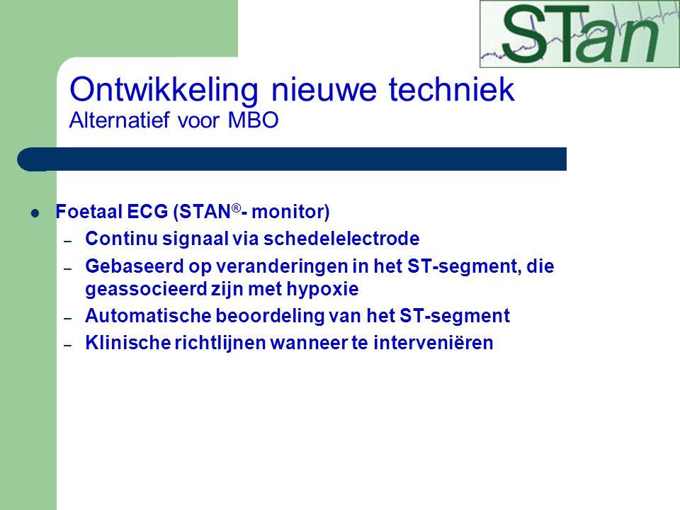 Ontwikkeling nieuwe techniek Alternatief voor MBO Foetaal ECG (STAN ® - monitor) – Continu signaal via schedelelectrode – Gebaseerd op veranderingen i