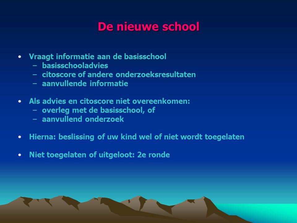 De nieuwe school Vraagt informatie aan de basisschool –basisschooladvies –citoscore of andere onderzoeksresultaten –aanvullende informatie Als advies