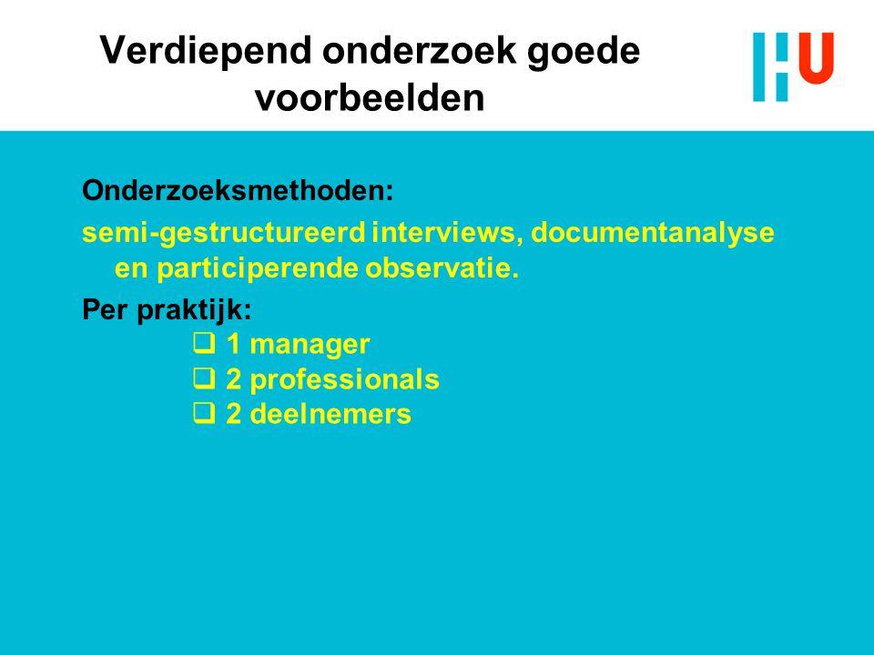 Verdiepend onderzoek goede voorbeelden Onderzoeksmethoden: semi-gestructureerd interviews, documentanalyse en participerende observatie. Per praktijk: