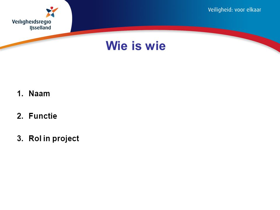 Wie is wie 1.Naam 2.Functie 3.Rol in project