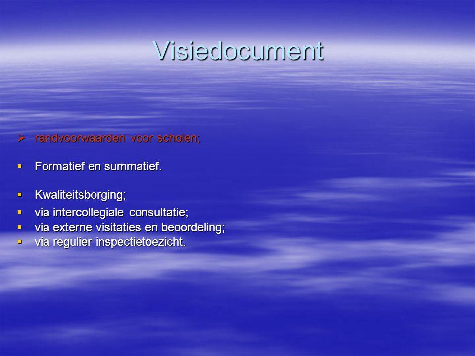 Visiedocument  randvoorwaarden voor scholen;  Formatief en summatief.  Kwaliteitsborging;  via intercollegiale consultatie;  via externe visitati