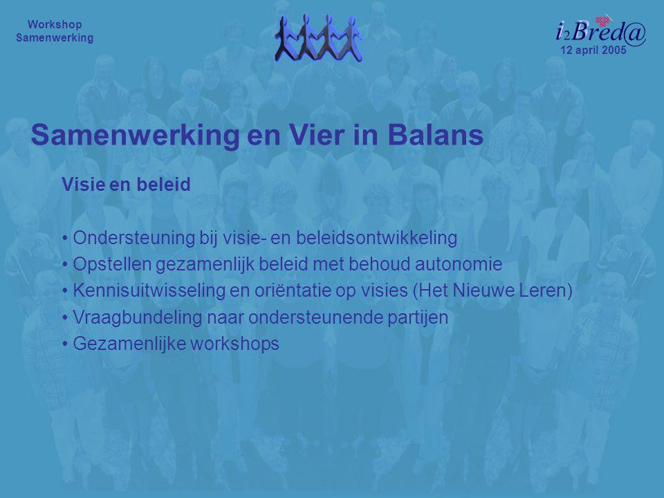 12 april 2005 Workshop Samenwerking Visie en beleid Ondersteuning bij visie- en beleidsontwikkeling Opstellen gezamenlijk beleid met behoud autonomie Kennisuitwisseling en oriëntatie op visies (Het Nieuwe Leren) Vraagbundeling naar ondersteunende partijen Gezamenlijke workshops Samenwerking en Vier in Balans