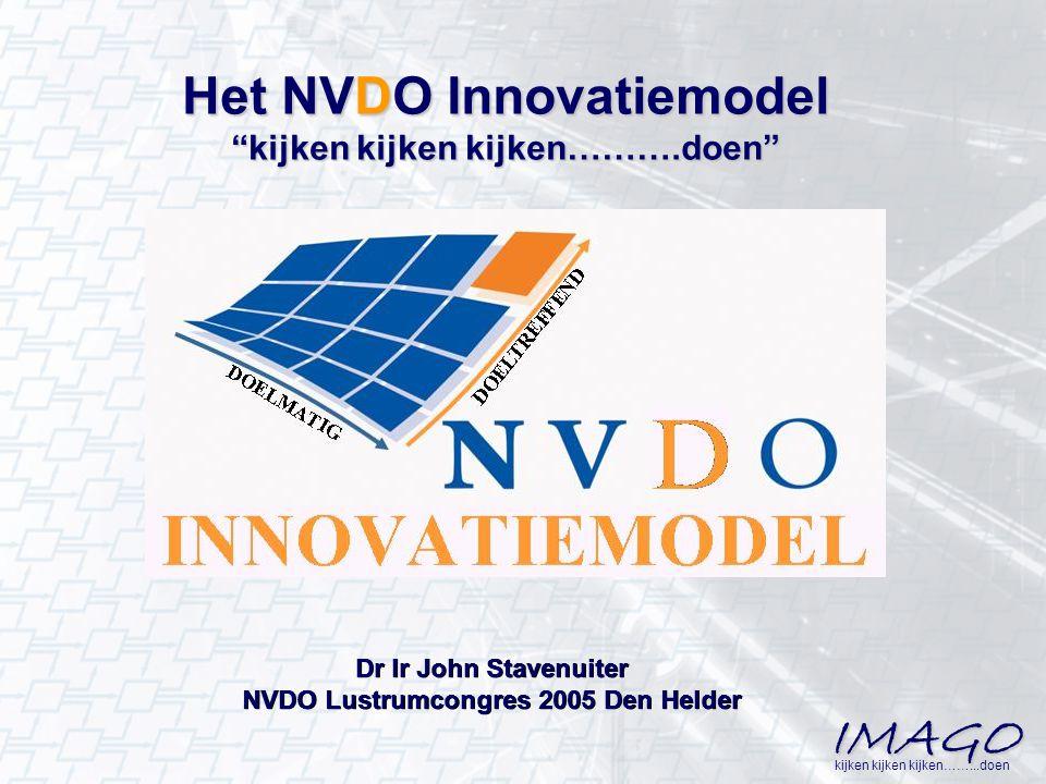 """IMAGO kijken kijken kijken……...doen Het NVDO Innovatiemodel """"kijken kijken kijken……….doen"""" Dr Ir John Stavenuiter NVDO Lustrumcongres 2005 Den Helder"""