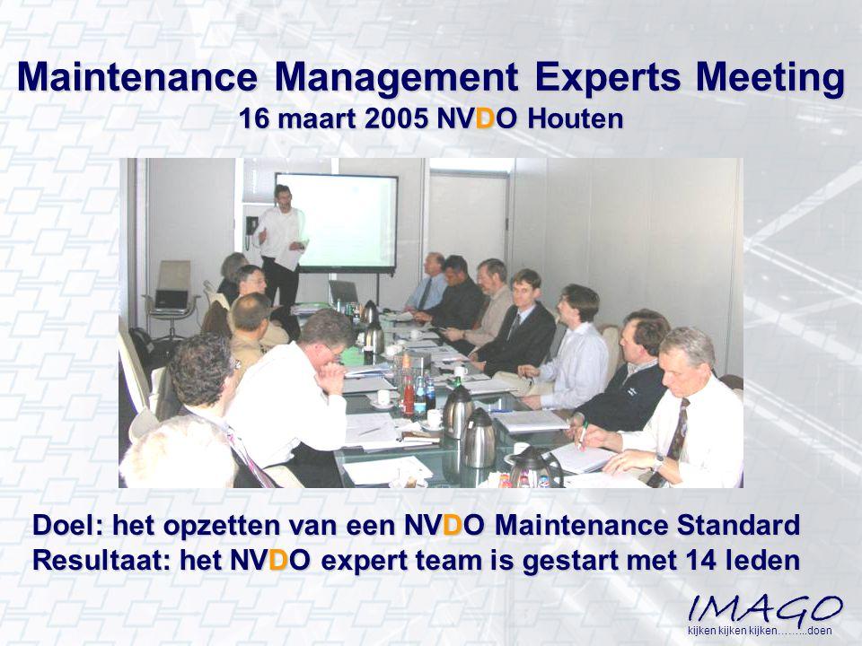 IMAGO kijken kijken kijken……...doen Maintenance Management Experts Meeting 16 maart 2005 NVDO Houten Doel: het opzetten van een NVDO Maintenance Stand