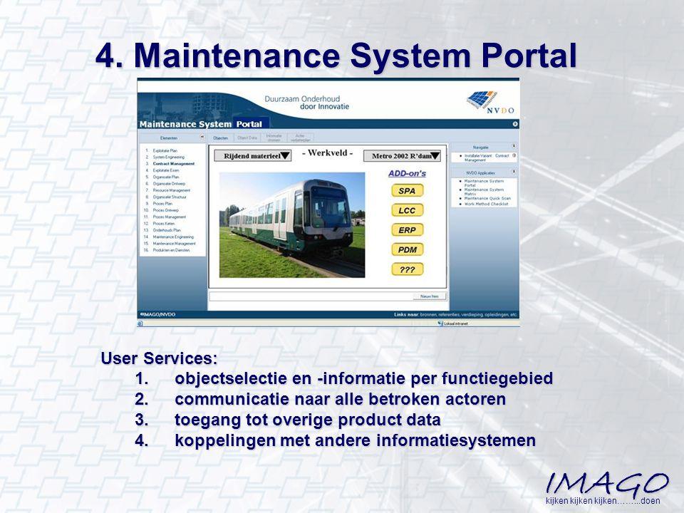 IMAGO kijken kijken kijken……...doen 4. Maintenance System Portal User Services: 1.objectselectie en -informatie per functiegebied 2.communicatie naar