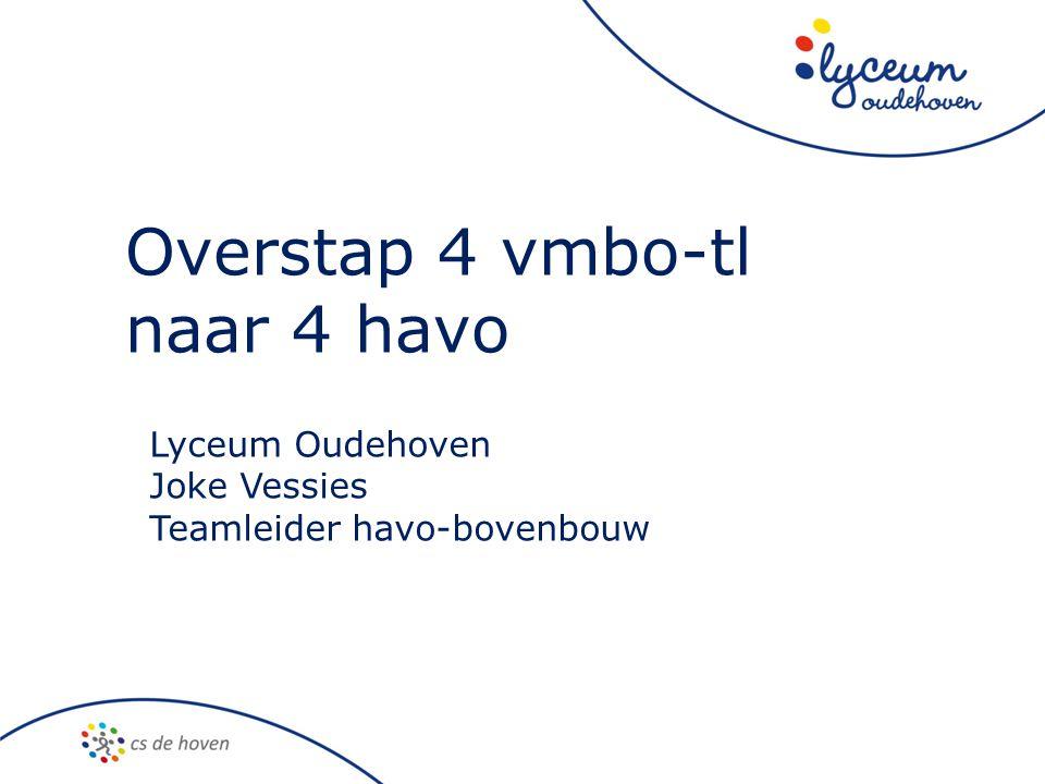Overstap 4 vmbo-tl naar 4 havo Lyceum Oudehoven Joke Vessies Teamleider havo-bovenbouw
