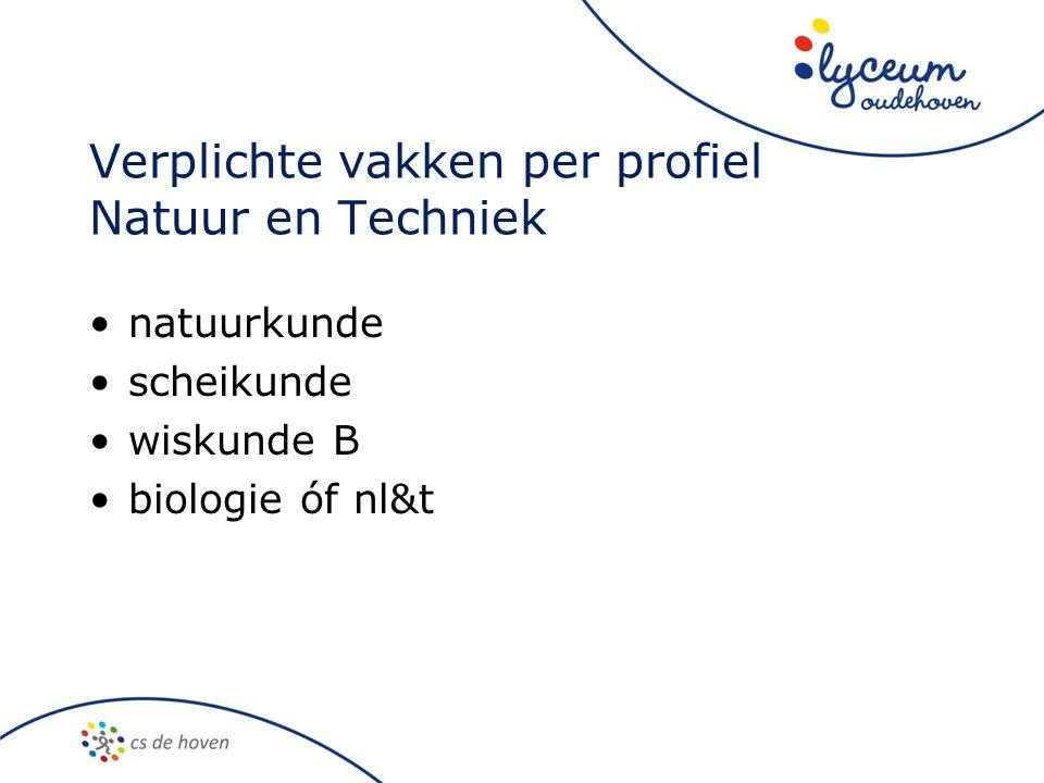 Verplichte vakken per profiel Natuur en Techniek natuurkunde scheikunde wiskunde B biologie óf nl&t