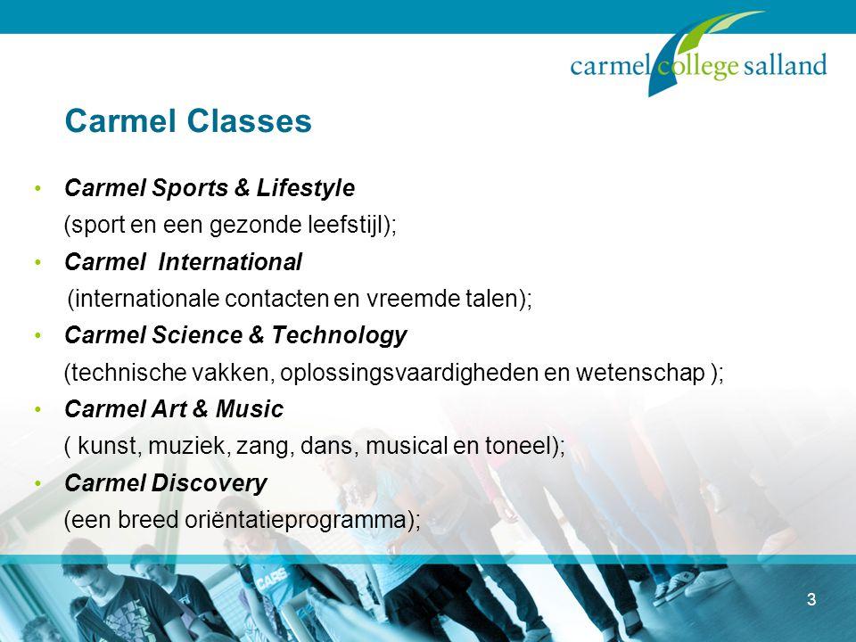 3 Carmel Classes Carmel Sports & Lifestyle (sport en een gezonde leefstijl); Carmel International (internationale contacten en vreemde talen); Carmel Science & Technology (technische vakken, oplossingsvaardigheden en wetenschap ); Carmel Art & Music ( kunst, muziek, zang, dans, musical en toneel); Carmel Discovery (een breed oriëntatieprogramma);
