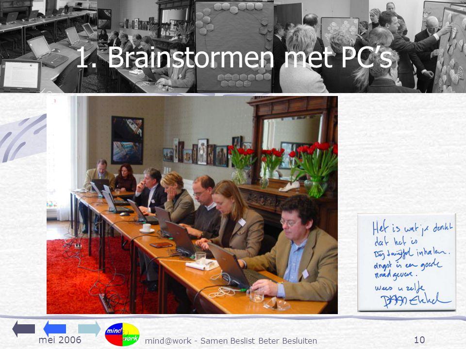 mei 2006 mind@work - Samen Beslist Beter Besluiten 10 1. Brainstormen met PC's