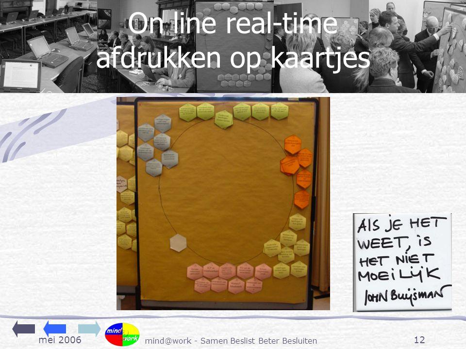 mei 2006 mind@work - Samen Beslist Beter Besluiten 12 On line real-time afdrukken op kaartjes