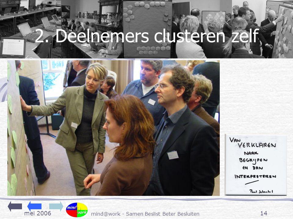 mei 2006 mind@work - Samen Beslist Beter Besluiten 14 2. Deelnemers clusteren zelf