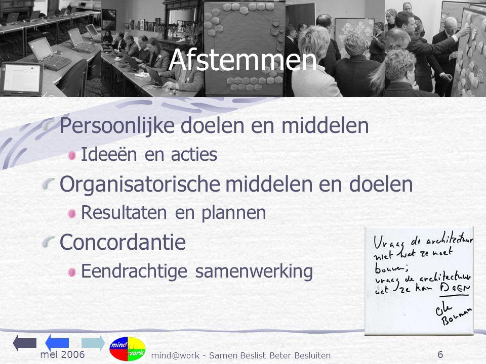 mei 2006 mind@work - Samen Beslist Beter Besluiten 6 Afstemmen Persoonlijke doelen en middelen Ideeën en acties Organisatorische middelen en doelen Resultaten en plannen Concordantie Eendrachtige samenwerking