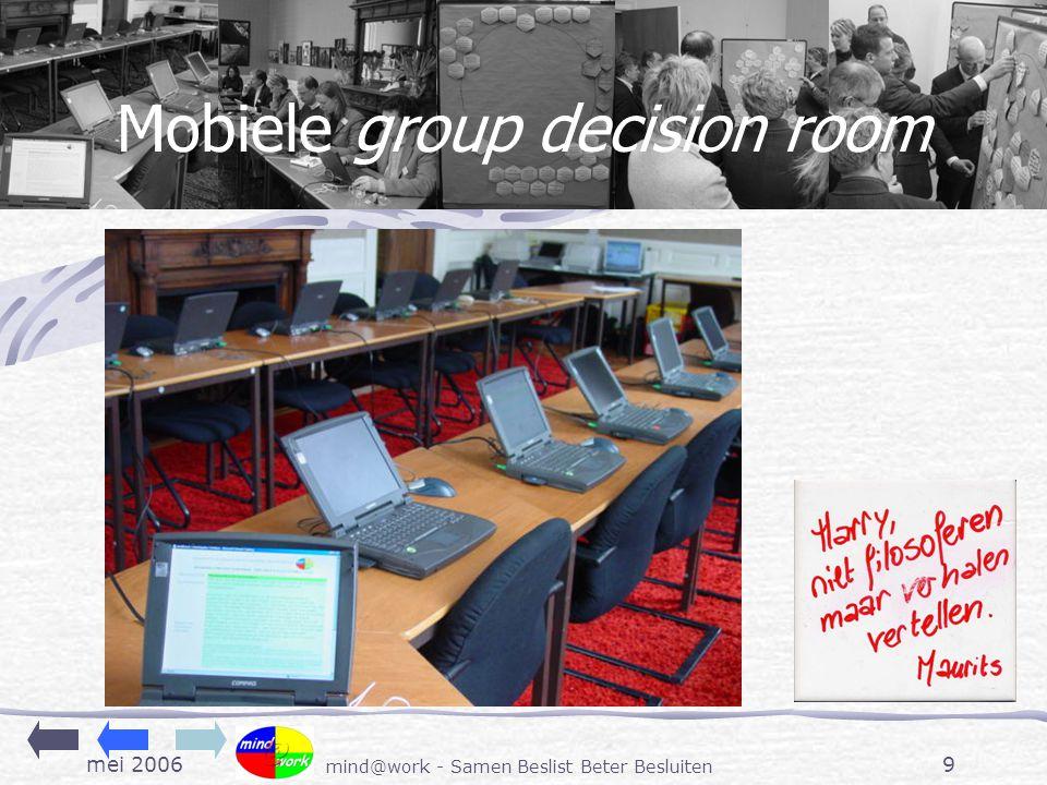 mei 2006 mind@work - Samen Beslist Beter Besluiten 9 Mobiele group decision room