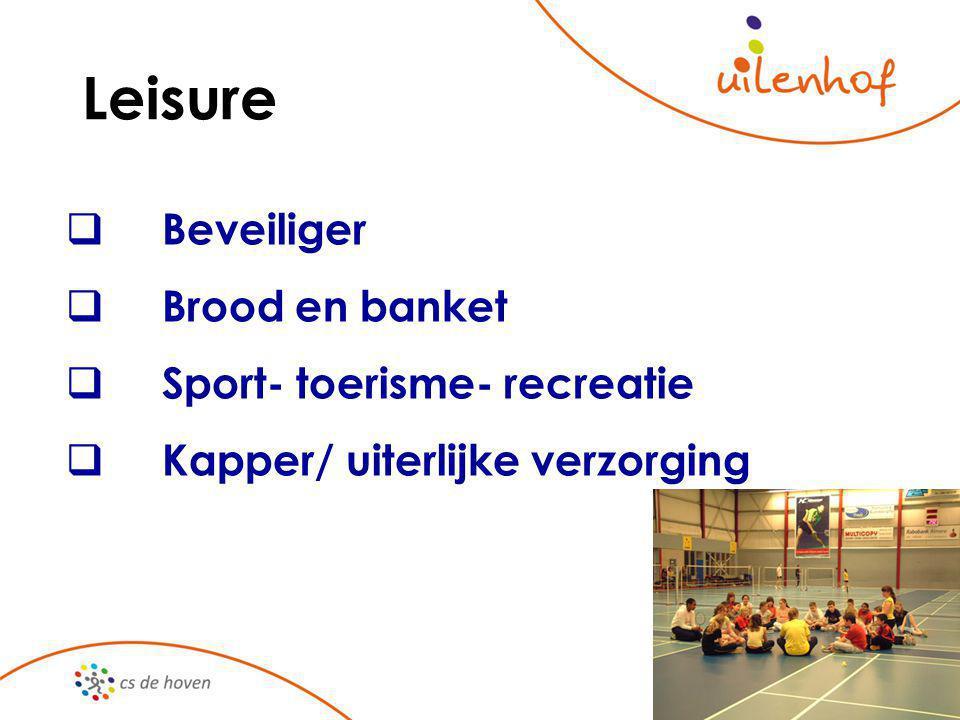 Leisure  Beveiliger  Brood en banket  Sport- toerisme- recreatie  Kapper/ uiterlijke verzorging