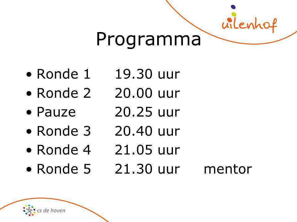 Programma Ronde 119.30 uur Ronde 220.00 uur Pauze20.25 uur Ronde 320.40 uur Ronde 421.05 uur Ronde 521.30 uurmentor