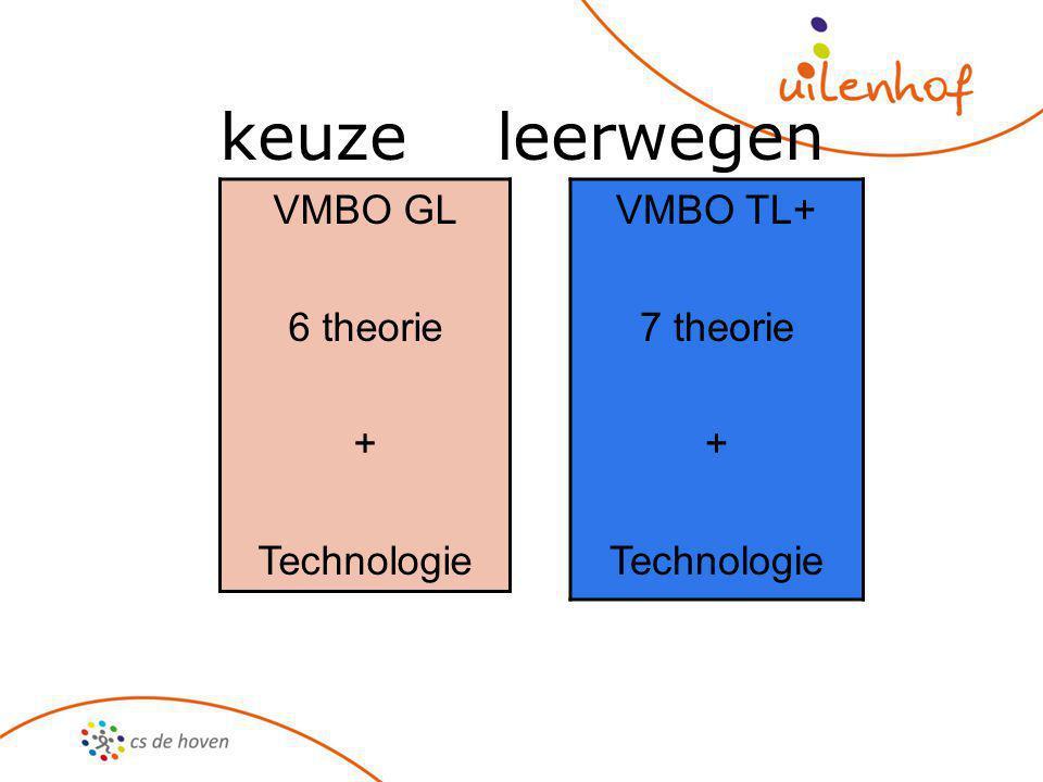keuze leerwegen VMBO GL 6 theorie + Technologie VMBO TL+ 7 theorie + Technologie