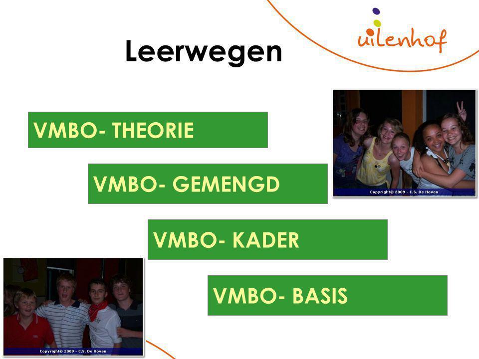 Leerwegen VMBO- BASIS VMBO- KADER VMBO- GEMENGD VMBO- THEORIE