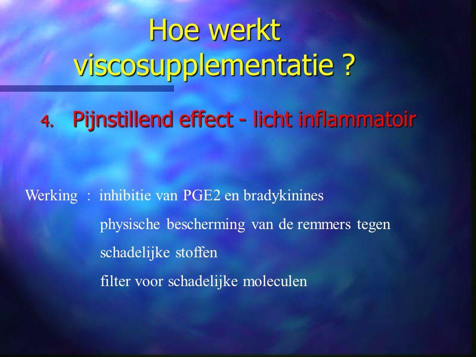 Hoe werkt viscosupplementatie ? 4. Pijnstillend effect - licht inflammatoir Werking : inhibitie van PGE2 en bradykinines physische bescherming van de