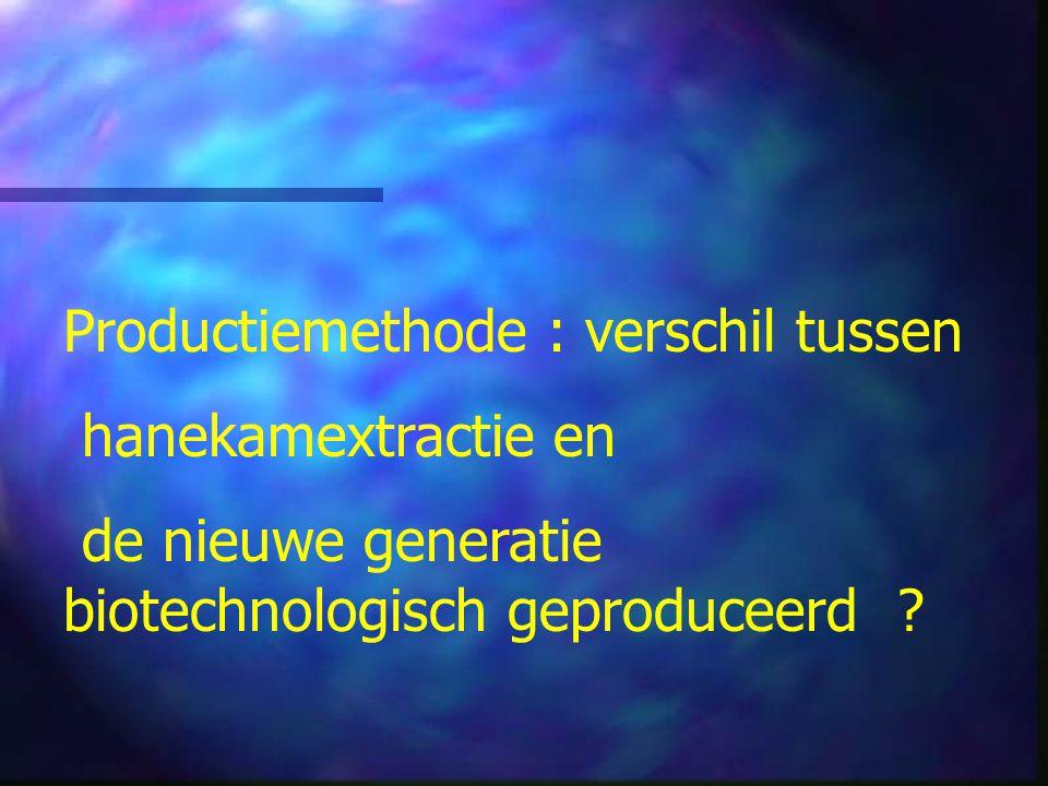 Productiemethode : verschil tussen hanekamextractie en de nieuwe generatie biotechnologisch geproduceerd ?