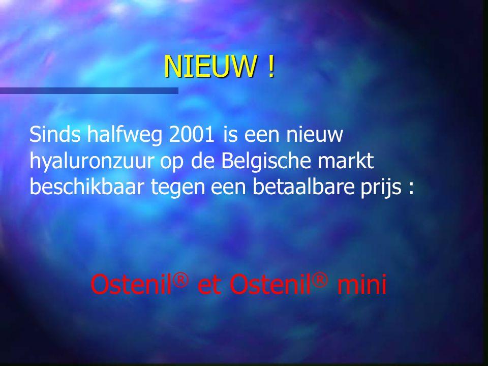 NIEUW ! Sinds halfweg 2001 is een nieuw hyaluronzuur op de Belgische markt beschikbaar tegen een betaalbare prijs : Ostenil ® et Ostenil ® mini