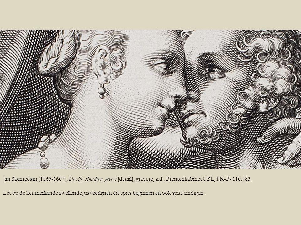 Jan Saenredam (1565-1607), De vijf zintuigen, gevoel [detail], gravure, z.d., Prentenkabinet UBL, PK-P- 110.483. Let op de kenmerkende zwellende grave