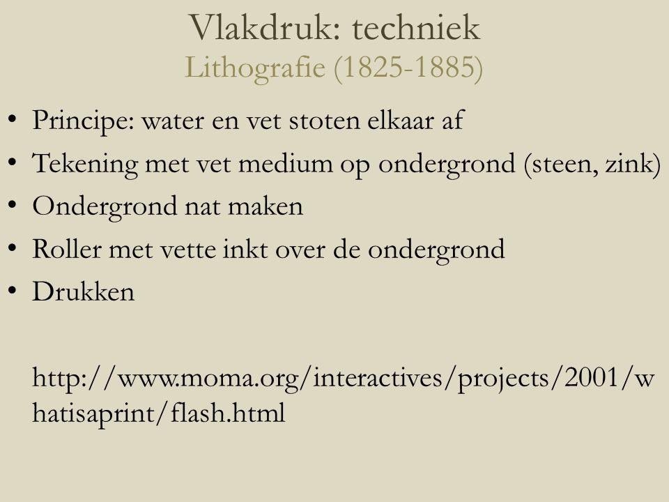 Principe: water en vet stoten elkaar af Tekening met vet medium op ondergrond (steen, zink) Ondergrond nat maken Roller met vette inkt over de ondergr