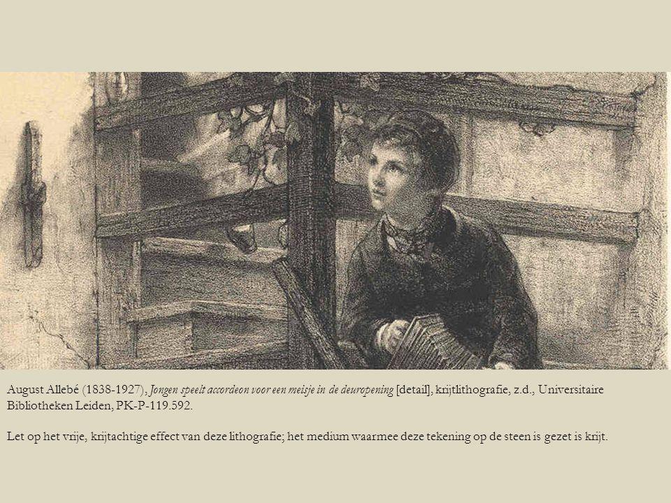 August Allebé (1838-1927), Jongen speelt accordeon voor een meisje in de deuropening [detail], krijtlithografie, z.d., Universitaire Bibliotheken Leid