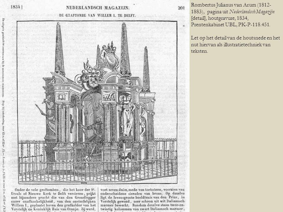 Rombertus Julianus van Arum (1812- 1883), pagina uit Nederlandsch Magazijn [detail], houtgravure, 1834, Prentenkabinet UBL, PK-P-118.451. Let op het d