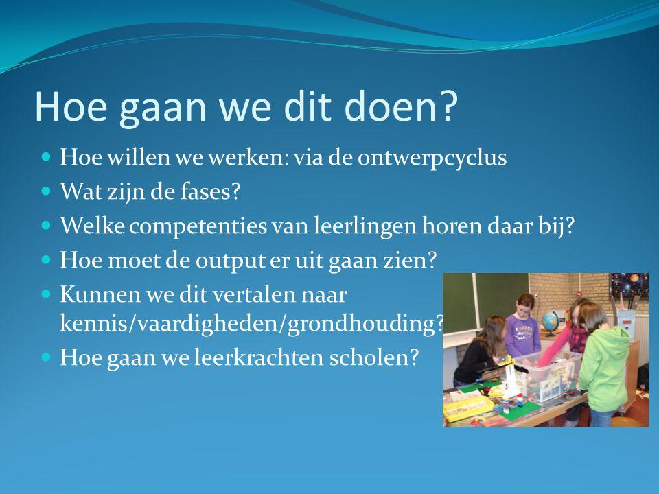 Hoe gaan we dit doen? Hoe willen we werken: via de ontwerpcyclus Wat zijn de fases? Welke competenties van leerlingen horen daar bij? Hoe moet de outp