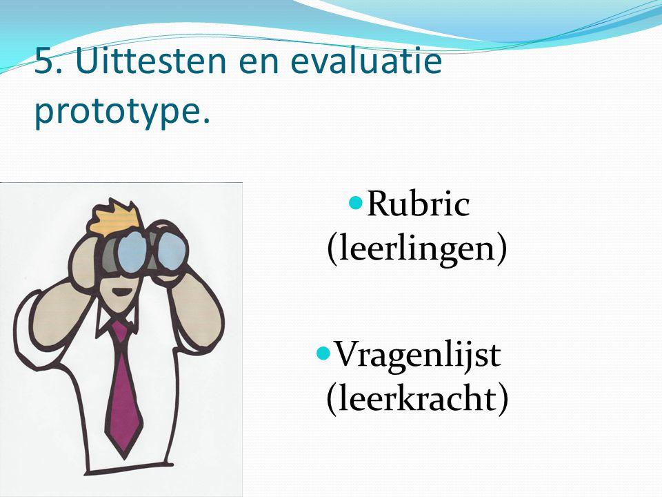 5. Uittesten en evaluatie prototype. Rubric (leerlingen) Vragenlijst (leerkracht)