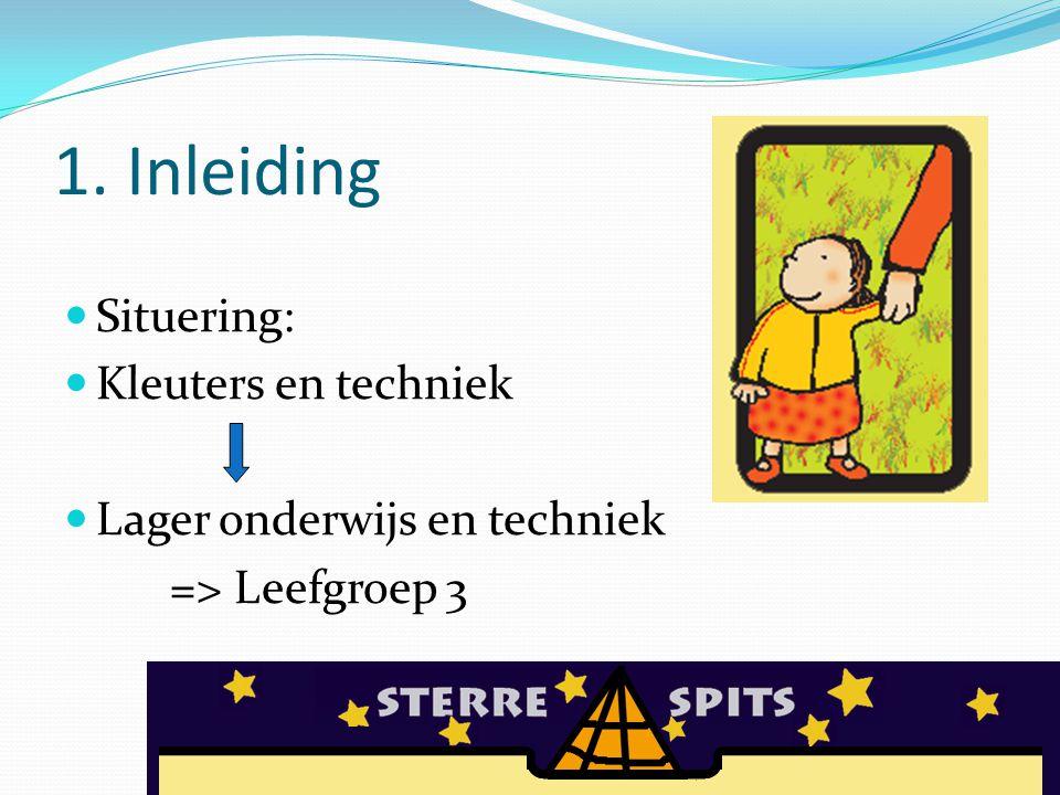 1. Inleiding Situering: Kleuters en techniek Lager onderwijs en techniek => Leefgroep 3